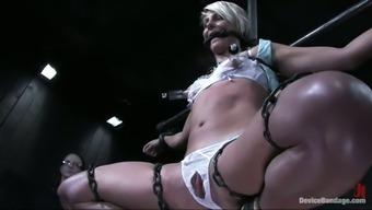 Slim blonde girl gets halted in several slavery belts