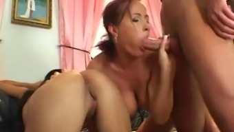 katy swaps spunk by using another babe after being fucked inside a threesome