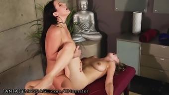 Angela White and Lena Paul Lesbian Scissor and Sperm