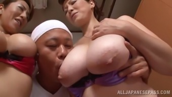 Excellent From asia pornstars along with big tits get slammed in a ffm threesome performance
