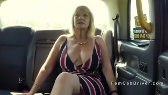 big tits mature lesbian hammering in cab