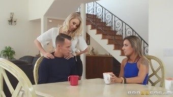 Katie Morgan serves as a gorgeous blond hoping a man's puncture