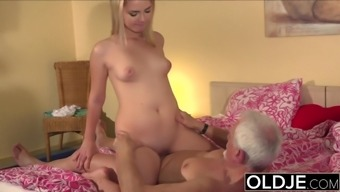 Grandpa Fucks 19 season old youngster pussy and cums in her mouth
