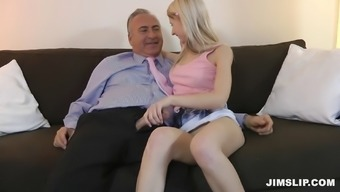 A lean blond likes when a excess weight prick is drilled deep down her