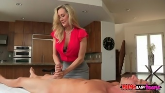 brandi absolutely adore instructing her stepdaughter taylor whyte how to stroke a shaft