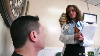 Slutty health professional keeps her stockings on as the woman fucks an individual