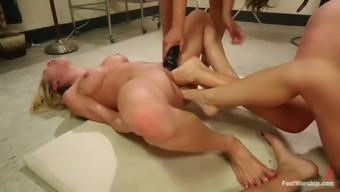 great leg fisting lesbian orgy with four wicked whores