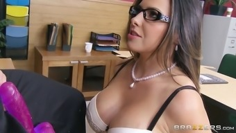 danica dillon demonstrating her skills linked to dildo after which on his incline