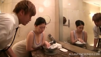 From asia Baby In Gorgeous Eye-glasses Gets Drilled Under the shower