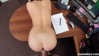 megan pour bends during the desk and requires raw and organic cock in their ideal pussy