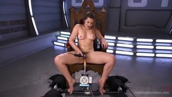 dani daniels stripteases and employs her fucking devices