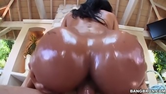abby lee brazil gets oiled over then fucked outside