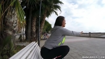 franceska jaimes in a leggings posing on the bench in government departments