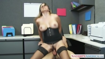danica dillon dressing stockings and corset rides her chief in the office