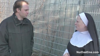 German Young Dude persuade Granny Nun to Fuck Him