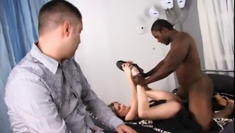 Light colored stud watches as his special wife gets her pussy fucked & face creamed by black guy