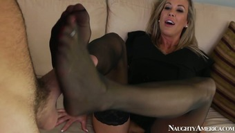 Changed homemaker in pantyhose Brandi Like provides a stud with a footjob