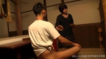 Wistful senior beginner Oriental delivering a astounding hands job thereafter gives a salacious blowjob