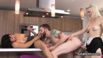Nymphos smash fellas butthole with large strap-ons and fountain jis