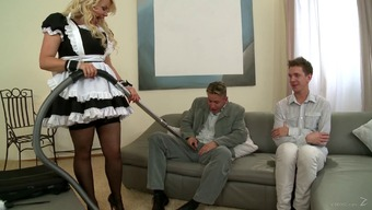 Needled on brown mama in maid even gets double teamed inside