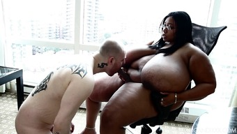 Big beautiful woman Natural cotton Candi has Straight Adult man Undergo her Belt on