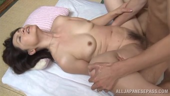 Lustful japanese senior toddler Yuuri Saejima bounces on hot cock