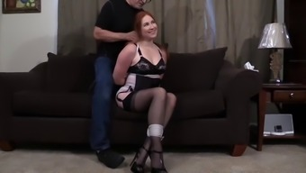 Beautiful blond bound and embarassed shamed disgraced on the floor