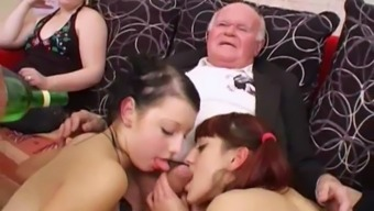 Younger girls dancing for grand father before blow his prick