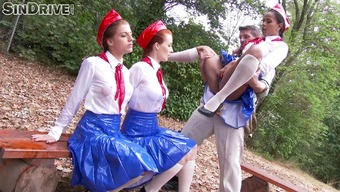 Big cock satisfies about three bright pornstars inside an open air quartet