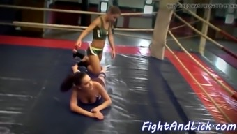Lesbian women tussle in boxing diamond ring