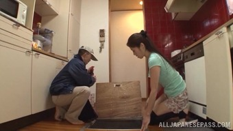 Long-haired Japanese companion chop with her hubby along with a plumber