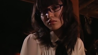 Asian beauty in spectacles Mai Yasuda shoes on the things she shared with me got under the dress