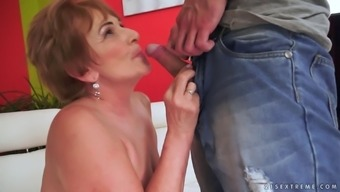 short-haired mature toddler gives her adult man a surprising rimjob