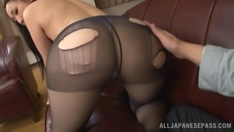 Fascinating From asia porno star in pvc pantyhose screeching in ecstasy as her hairy pussy gets burst hardcore