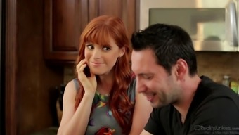 Guy possesses his hot redheaded companion using his good friend