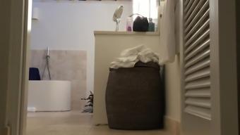 Ignorant naked mother wedged on spycam in inn bathing room