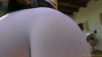 Full-figured dirty-minded ginger MILF in yoga underwear enhance her bubble stupid ass