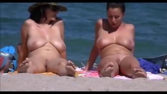 Busty Milfs On Beach