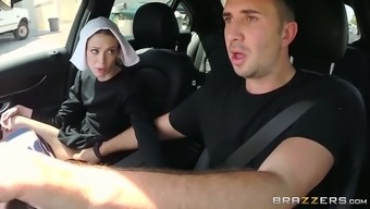 Slutty dim haired nun gives clammy deep throat to effectively her pal in motor vehicle