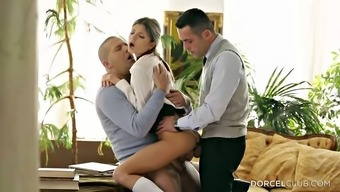 Twofold juicing up her moist youngster fuck holes inside a threesome