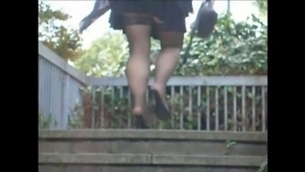 Voyeur stockings,high heels,way up mini skirts