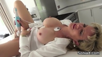 Adulterous the english language milf female sonia displays her enormous boobs