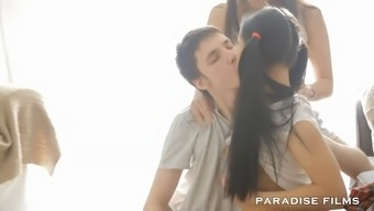 guy joined to the intercourse of two different gorgeous women