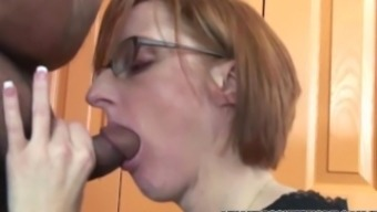 Horny homemaker Layla Redd is blowing a dude this lady just satisfied