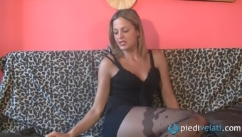 Her sexy nylons cowl her warm each foot while this lady begins back