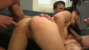 Fucking hot From asia harlot Mia Li is going on role legitimate extreme gangbang