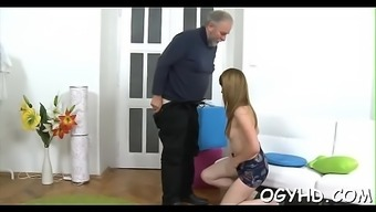 Young babe licked by an aged adult man