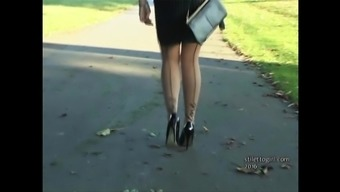 Horny blond gets out automobile in high heels and patterns you off