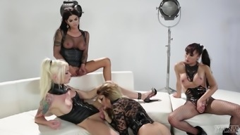 Shemale Jessica Drake is connected to perverted girls for getting a optimal orgy