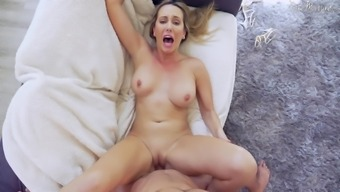 Brett Rossi agrees to ride a fat pecker while her tits bounce